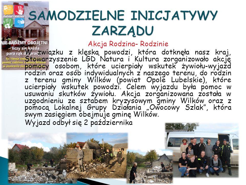 Akcja Rodzina- Rodzinie W związku z klęską powodzi, która dotknęła nasz kraj, Stowarzyszenie LGD Natura i Kultura zorganizowało akcję pomocy osobom, które ucierpiały wskutek żywiołu-wyjazd rodzin oraz osób indywidualnych z naszego terenu, do rodzin z terenu gminy Wilków (powiat Opole Lubelskie), które ucierpiały wskutek powodzi.