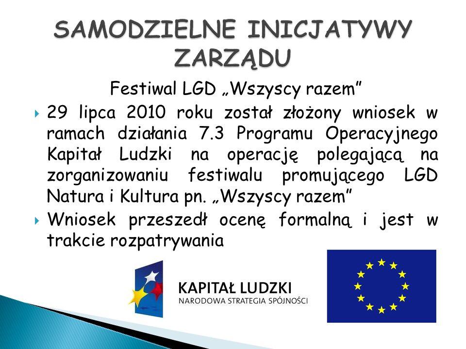 Festiwal LGD Wszyscy razem 29 lipca 2010 roku został złożony wniosek w ramach działania 7.3 Programu Operacyjnego Kapitał Ludzki na operację polegającą na zorganizowaniu festiwalu promującego LGD Natura i Kultura pn.