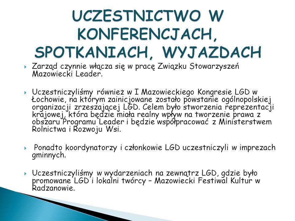 Zarząd czynnie włącza się w pracę Związku Stowarzyszeń Mazowiecki Leader.