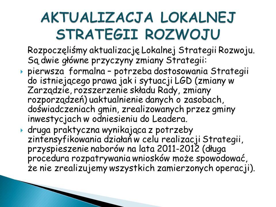Rozpoczęliśmy aktualizację Lokalnej Strategii Rozwoju.