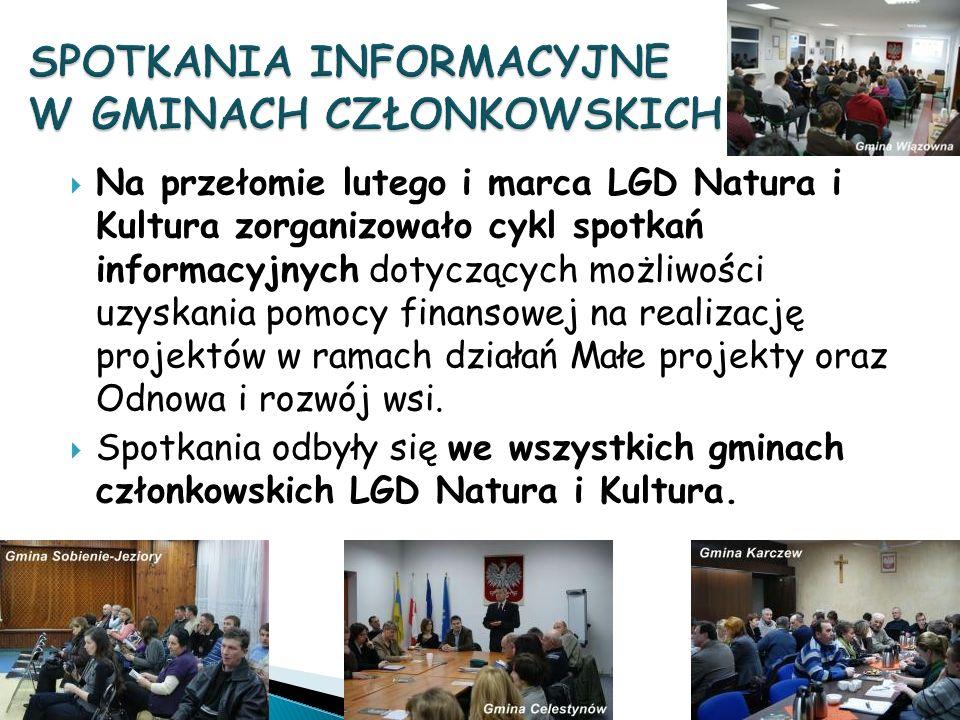 Na przełomie lutego i marca LGD Natura i Kultura zorganizowało cykl spotkań informacyjnych dotyczących możliwości uzyskania pomocy finansowej na realizację projektów w ramach działań Małe projekty oraz Odnowa i rozwój wsi.