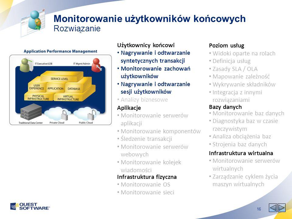 16 Poziom usług Widoki oparte na rolach Definicja usług Zasady SLA / OLA Mapowanie zależność Wykrywanie składników Integracja z innymi rozwiązaniami U