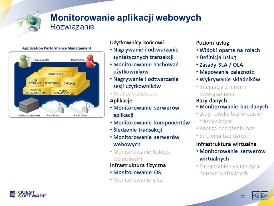 27 Poziom usług Widoki oparte na rolach Definicja usług Zasady SLA / OLA Mapowanie zależność Wykrywanie składników Integracja z innymi rozwiązaniami Użytkownicy końcowi Nagrywanie i odtwarzanie syntetycznych transakcji Monitorowanie zachowań użytkowników Nagrywanie i odtwarzanie sesji użytkowników Analizy biznesowe Aplikacje Monitorowanie serwerów aplikacji Monitorowanie komponentów Śledzenie transakcji Monitorowanie serwerów webowych Monitorowanie kolejek wiadomości Bazy danych Monitorowanie baz danych Diagnostyka baz w czasie rzeczywistym Analiza obciążenia baz Strojenia baz danych Infrastruktura fizyczna Monitorowanie OS Monitorowanie sieci Infrastruktura wirtualna Monitorowanie serwerów wirtualnych Zarządzanie cyklem życia maszyn wirtualnych Monitorowanie aplikacji webowych Rozwiązanie