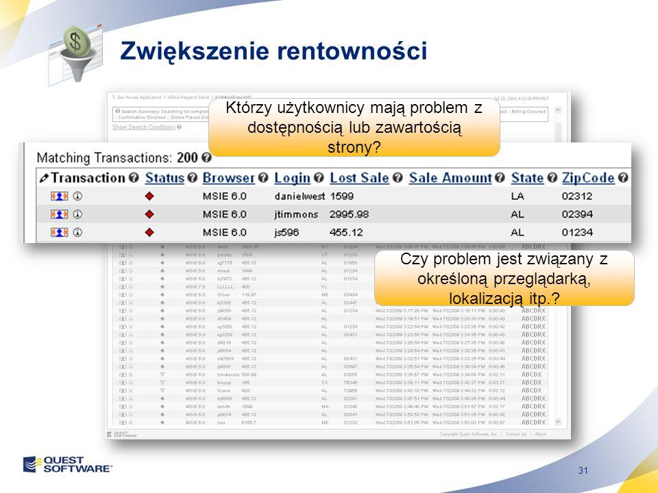 31 Którzy użytkownicy mają problem z dostępnością lub zawartością strony? Czy problem jest związany z określoną przeglądarką, lokalizacją itp.? Zwięks