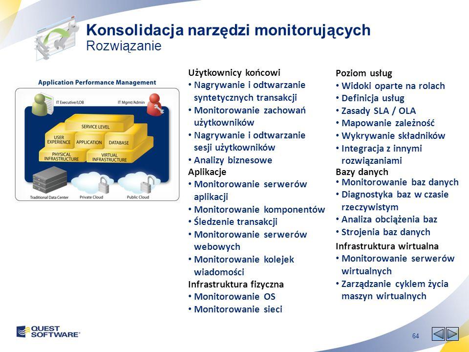 64 Poziom usług Widoki oparte na rolach Definicja usług Zasady SLA / OLA Mapowanie zależność Wykrywanie składników Integracja z innymi rozwiązaniami Użytkownicy końcowi Nagrywanie i odtwarzanie syntetycznych transakcji Monitorowanie zachowań użytkowników Nagrywanie i odtwarzanie sesji użytkowników Analizy biznesowe Aplikacje Monitorowanie serwerów aplikacji Monitorowanie komponentów Śledzenie transakcji Monitorowanie serwerów webowych Monitorowanie kolejek wiadomości Bazy danych Monitorowanie baz danych Diagnostyka baz w czasie rzeczywistym Analiza obciążenia baz Strojenia baz danych Infrastruktura fizyczna Monitorowanie OS Monitorowanie sieci Infrastruktura wirtualna Monitorowanie serwerów wirtualnych Zarządzanie cyklem życia maszyn wirtualnych Konsolidacja narzędzi monitorujących Rozwiązanie