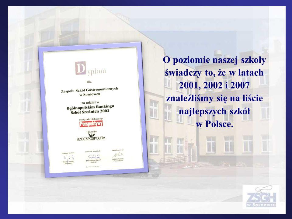 O poziomie naszej szkoły świadczy to, że w latach 2001, 2002 i 2007 znaleźliśmy się na liście najlepszych szkół w Polsce.