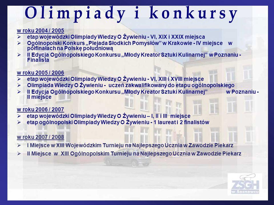 w roku 2004 / 2005 etap wojewódzki Olimpiady Wiedzy O Żywieniu - VI, XIX i XXIX miejsca Ogólnopolski Konkurs Plejada Słodkich Pomysłów w Krakowie - IV