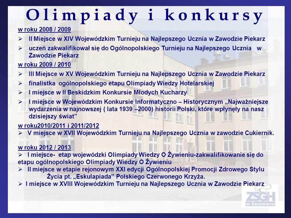 w roku 2008 / 2009 II Miejsce w XIV Wojewódzkim Turnieju na Najlepszego Ucznia w Zawodzie Piekarz uczeń zakwalifikował się do Ogólnopolskiego Turnieju