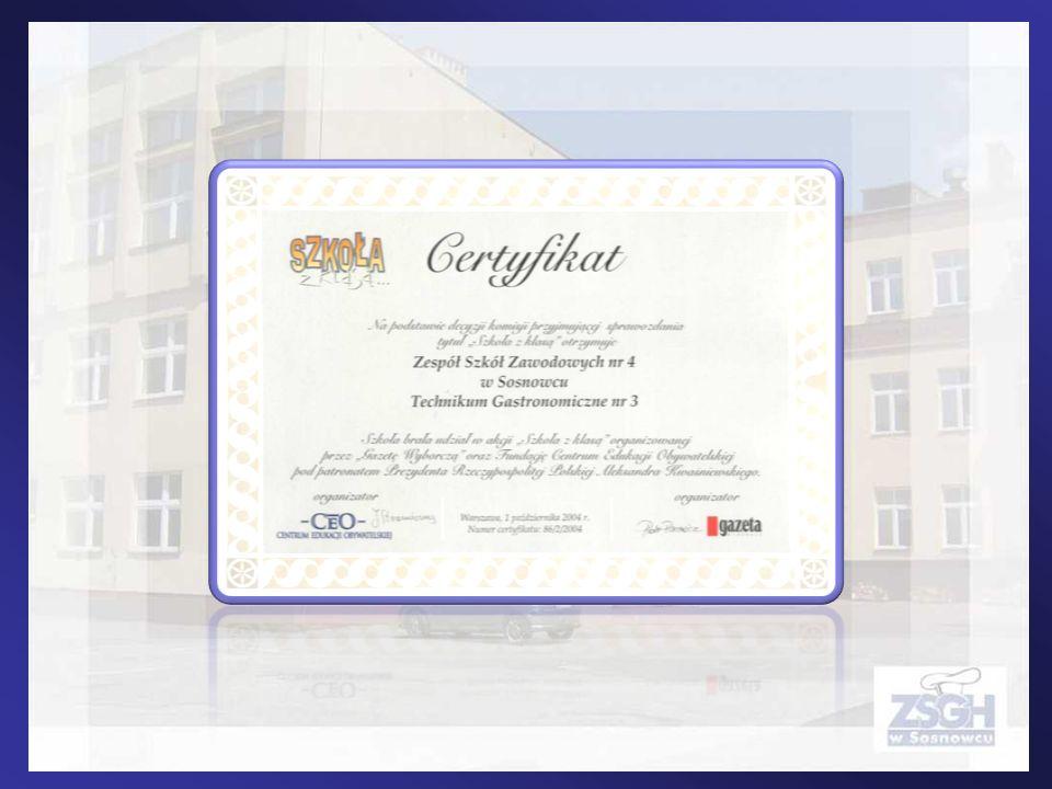 Twój szef to Ty 27.04.2009 nasza szkoła otrzymała certyfikat za udział w projekcie Twój szef to Ty promującym ideę CSR i współpracy międzysektorowej oraz za promocję koncepcji CSR w ramach autorskich mini projektów.