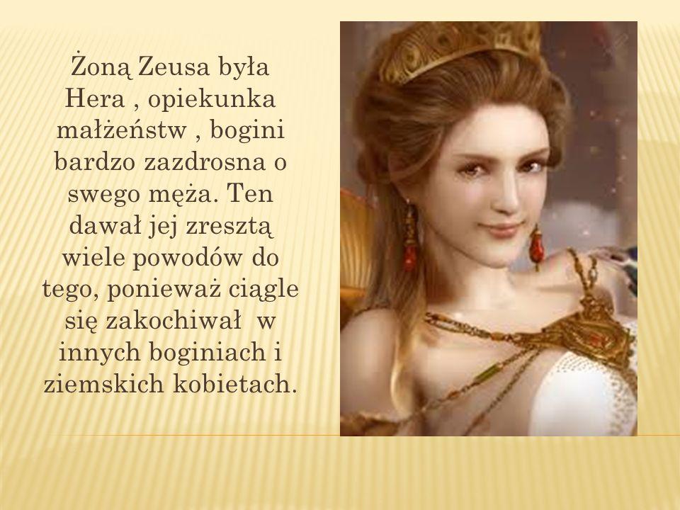 Żoną Zeusa była Hera, opiekunka małżeństw, bogini bardzo zazdrosna o swego męża. Ten dawał jej zresztą wiele powodów do tego, ponieważ ciągle się zako