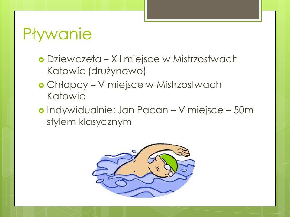 Pływanie Dziewczęta – XII miejsce w Mistrzostwach Katowic (drużynowo) Chłopcy – V miejsce w Mistrzostwach Katowic Indywidualnie: Jan Pacan – V miejsce
