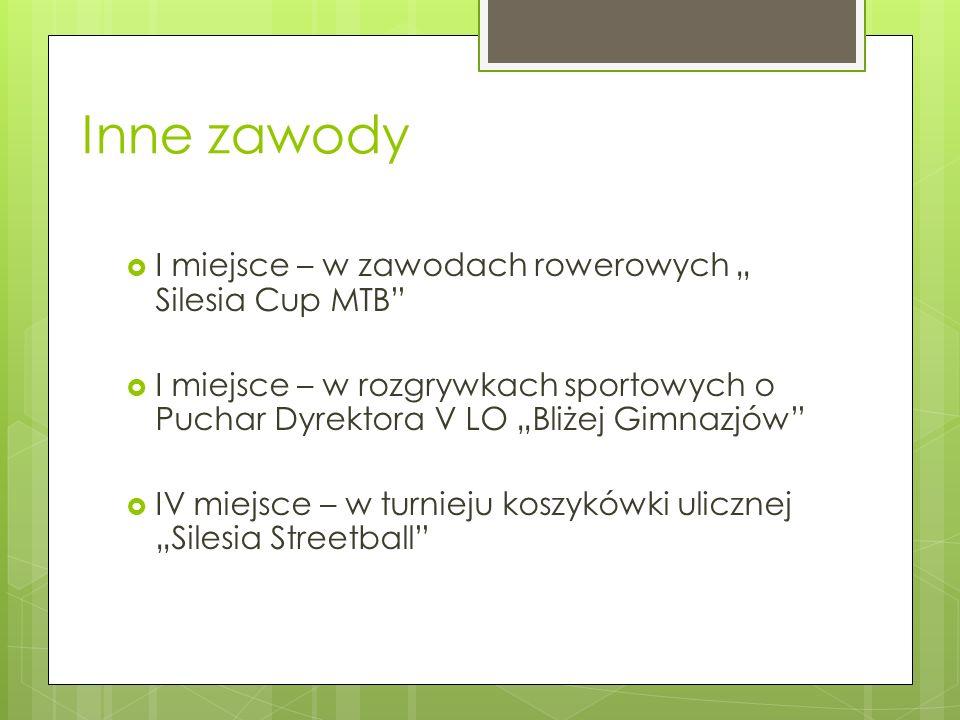 Inne zawody I miejsce – w zawodach rowerowych Silesia Cup MTB I miejsce – w rozgrywkach sportowych o Puchar Dyrektora V LO Bliżej Gimnazjów IV miejsce