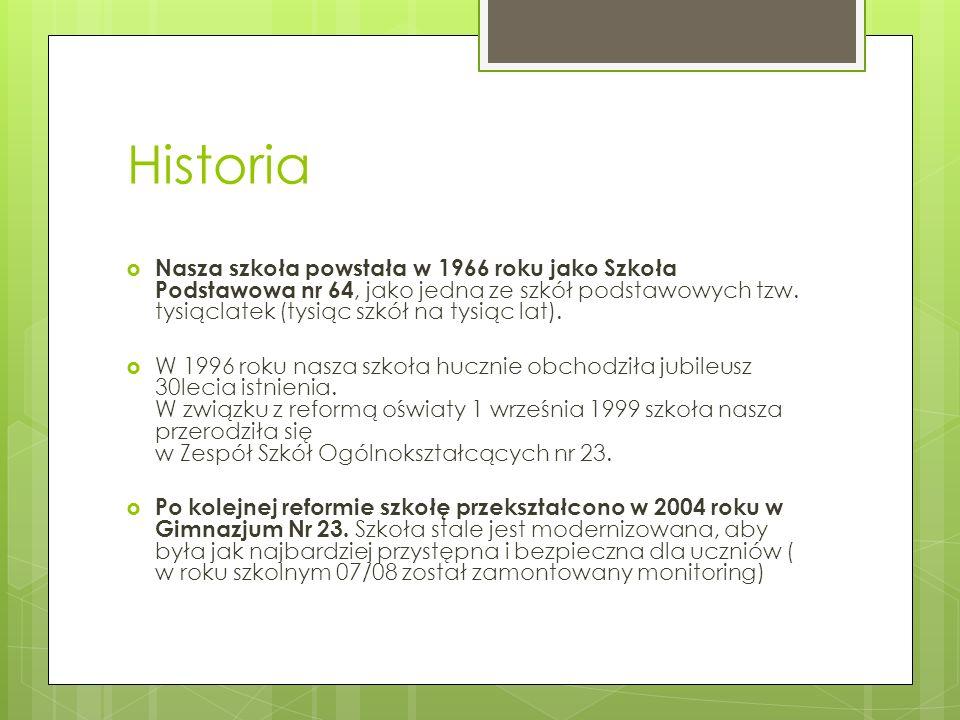 Historia Nasza szkoła powstała w 1966 roku jako Szkoła Podstawowa nr 64, jako jedna ze szkół podstawowych tzw. tysiąclatek (tysiąc szkół na tysiąc lat