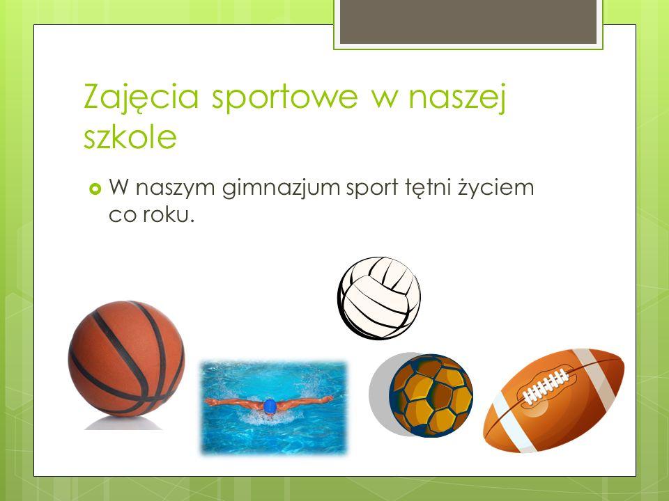 Zajęcia sportowe w naszej szkole W naszym gimnazjum sport tętni życiem co roku.