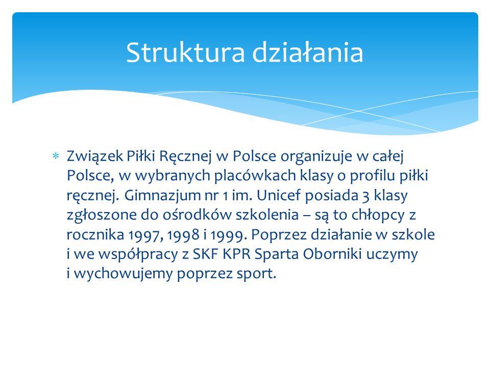 Związek Piłki Ręcznej w Polsce organizuje w całej Polsce, w wybranych placówkach klasy o profilu piłki ręcznej. Gimnazjum nr 1 im. Unicef posiada 3 kl