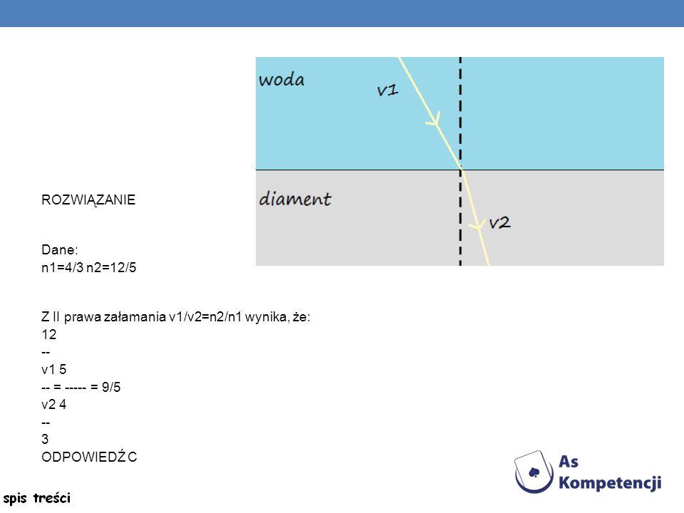 ROZWIĄZANIE Dane: n1=4/3 n2=12/5 Z II prawa załamania v1/v2=n2/n1 wynika, że: 12 -- v1 5 -- = ----- = 9/5 v2 4 -- 3 ODPOWIEDŹ C