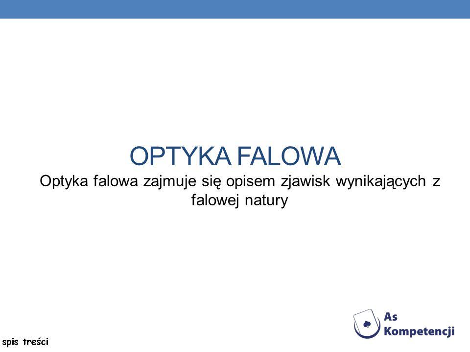 OPTYKA FALOWA Optyka falowa zajmuje się opisem zjawisk wynikających z falowej natury