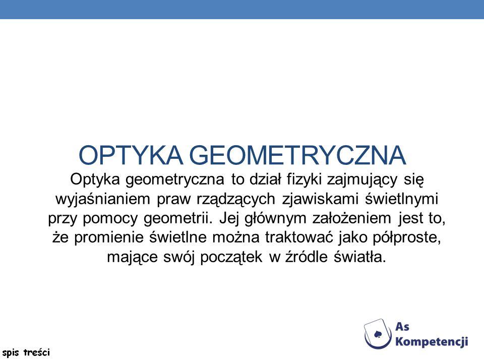 OPTYKA GEOMETRYCZNA Optyka geometryczna to dział fizyki zajmujący się wyjaśnianiem praw rządzących zjawiskami świetlnymi przy pomocy geometrii.