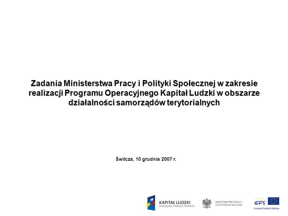 Zadania Ministerstwa Pracy i Polityki Społecznej w zakresie realizacji Programu Operacyjnego Kapitał Ludzki w obszarze działalności samorządów terytor