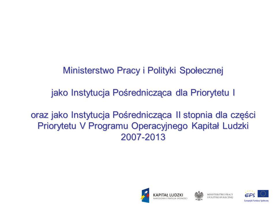 Ministerstwo Pracy i Polityki Społecznej jako Instytucja Pośrednicząca dla Priorytetu I oraz jako Instytucja Pośrednicząca II stopnia dla części Prior