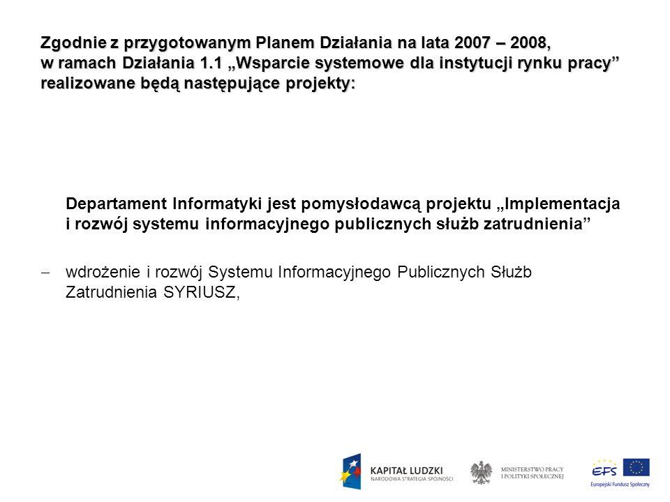 Zgodnie z przygotowanym Planem Działania na lata 2007 – 2008, w ramach Działania 1.1 Wsparcie systemowe dla instytucji rynku pracy realizowane będą na