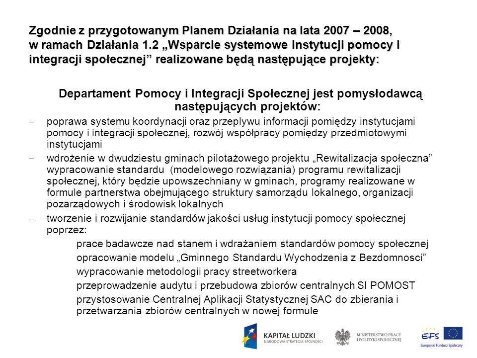 Zgodnie z przygotowanym Planem Działania na lata 2007 – 2008, w ramach Działania 1.2 Wsparcie systemowe instytucji pomocy i integracji społecznej real