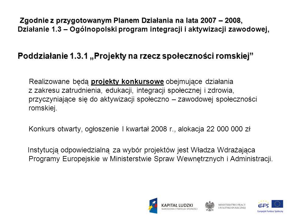 Zgodnie z przygotowanym Planem Działania na lata 2007 – 2008,, Poddziałanie 1.3.1 Projekty na rzecz społeczności romskiej Zgodnie z przygotowanym Plan