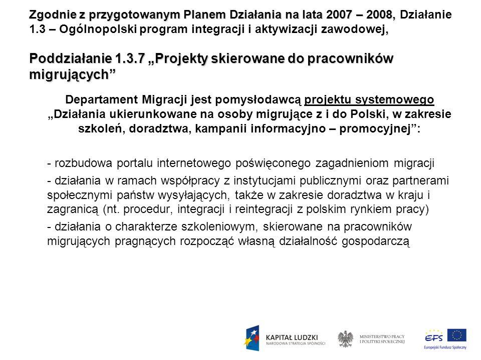 Zgodnie z przygotowanym Planem Działania na lata 2007 – 2008,, Poddziałanie 1.3.7 Projekty skierowane do pracowników migrujących Zgodnie z przygotowan