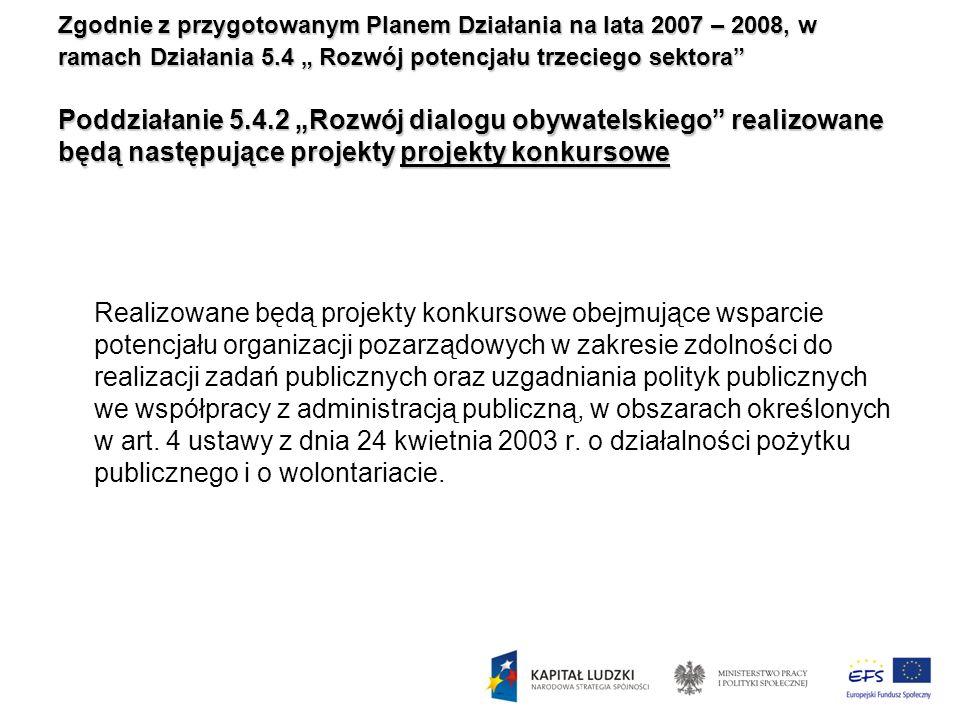 Zgodnie z przygotowanym Planem Działania na lata 2007 – 2008, w ramach Działania 5.4 Rozwój potencjału trzeciego sektora Poddziałanie 5.4.2 Rozwój dia