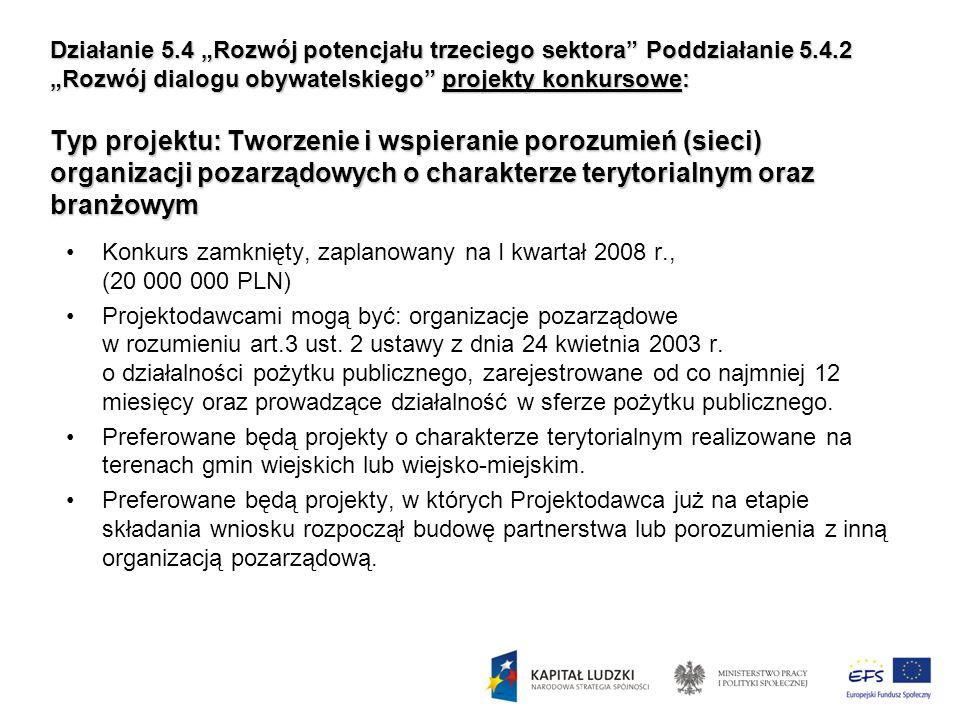 Działanie 5.4 Rozwój potencjału trzeciego sektora Poddziałanie 5.4.2 Rozwój dialogu obywatelskiego projekty konkursowe: Typ projektu: Tworzenie i wspi