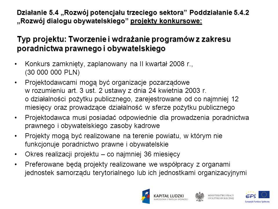 Działanie 5.4 Rozwój potencjału trzeciego sektora Poddziałanie 5.4.2 Rozwój dialogu obywatelskiego projekty konkursowe: Typ projektu: Tworzenie i wdra