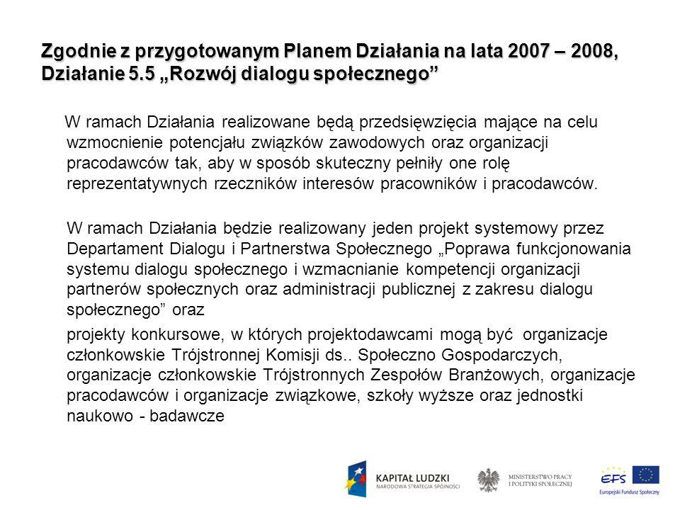 Zgodnie z przygotowanym Planem Działania na lata 2007 – 2008, Działanie 5.5 Rozwój dialogu społecznego W ramach Działania realizowane będą przedsięwzi