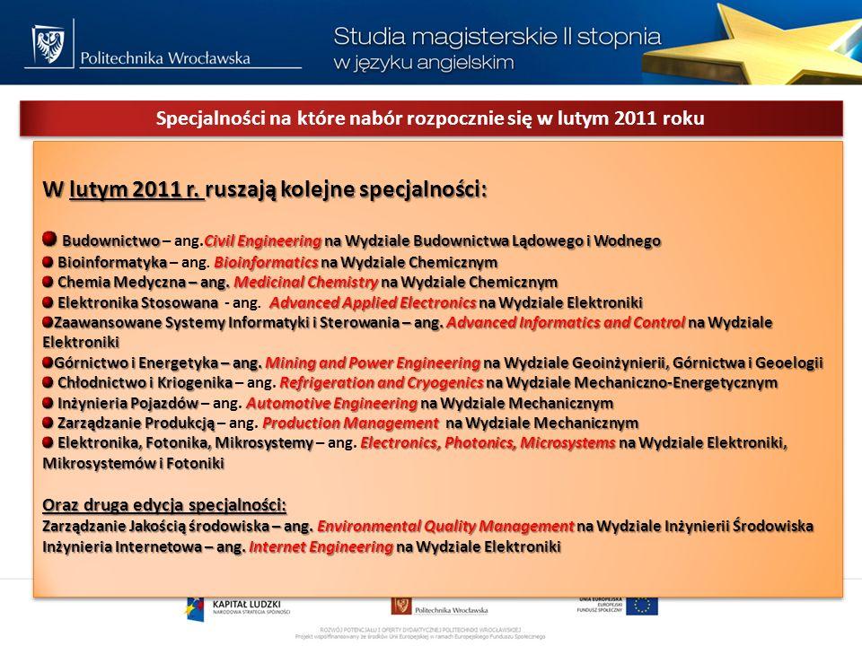 Specjalności na które nabór rozpocznie się w lutym 2011 roku W lutym 2011 r.