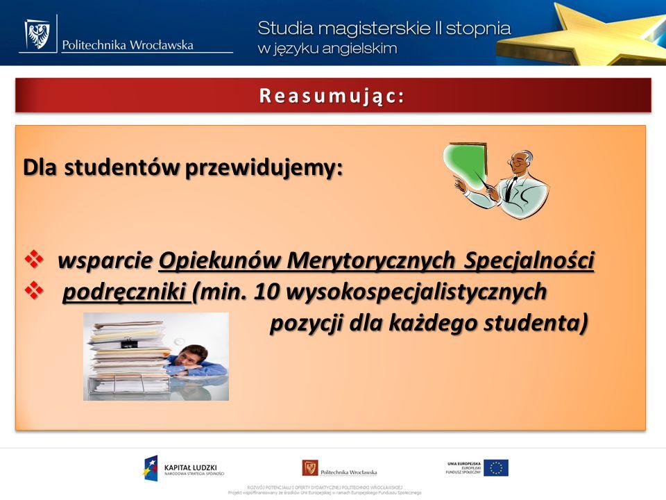 Reasumując:Reasumując: Dla studentów przewidujemy: wsparcie Opiekunów Merytorycznych Specjalności wsparcie Opiekunów Merytorycznych Specjalności podręczniki (min.