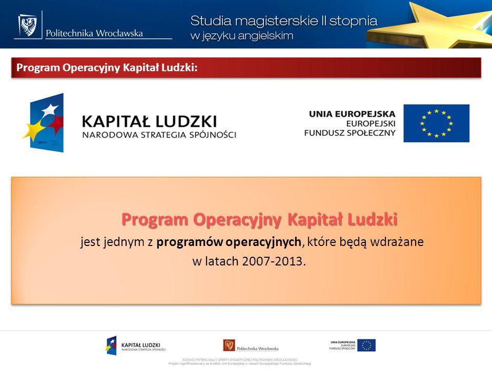 Program Operacyjny Kapitał Ludzki Program Operacyjny Kapitał Ludzki jest jednym z programów operacyjnych, które będą wdrażane w latach 2007-2013.