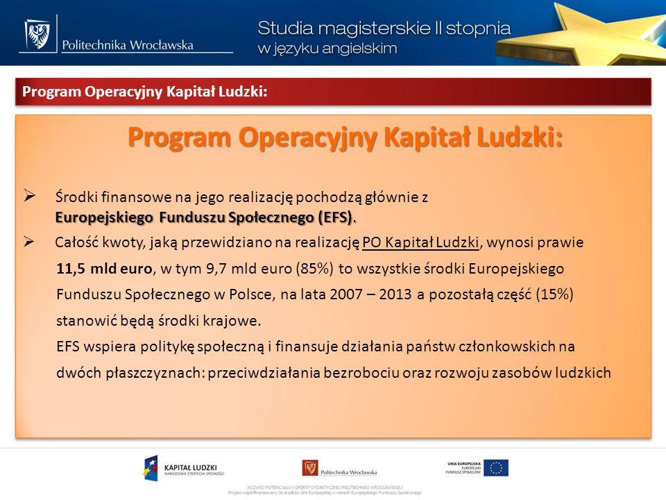 Program Operacyjny Kapitał Ludzki: Program Operacyjny Kapitał Ludzki: Europejskiego Funduszu Społecznego (EFS).
