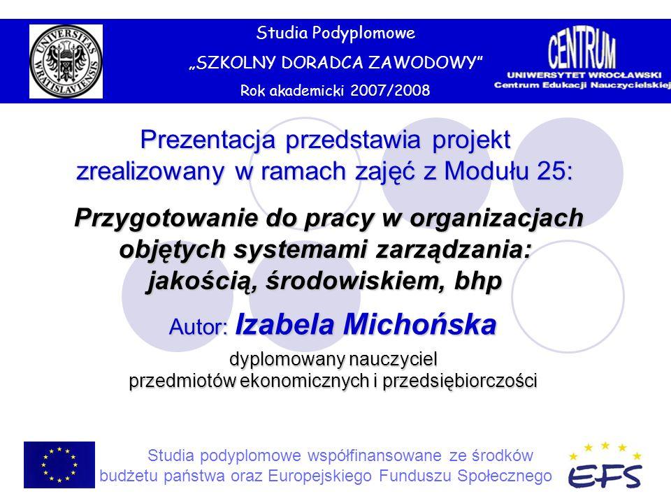 Studia Podyplomowe SZKOLNY DORADCA ZAWODOWY Rok akademicki 2007/2008 Studia podyplomowe współfinansowane ze środków budżetu państwa oraz Europejskiego