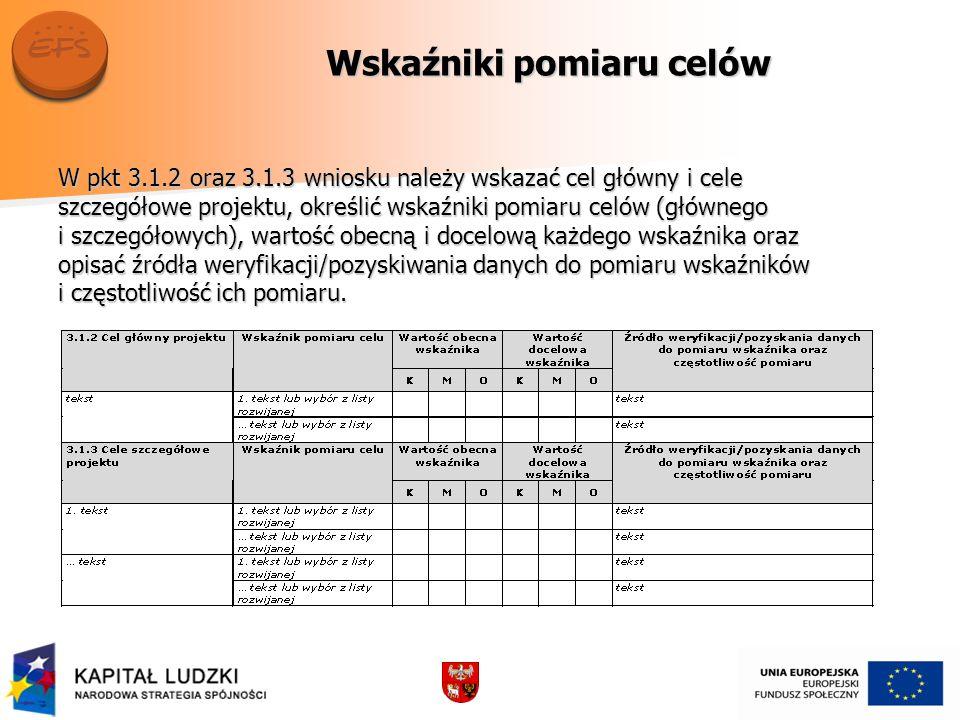 Wskaźniki pomiaru celów W pkt 3.1.2 oraz 3.1.3 wniosku należy wskazać cel główny i cele szczegółowe projektu, określić wskaźniki pomiaru celów (główne