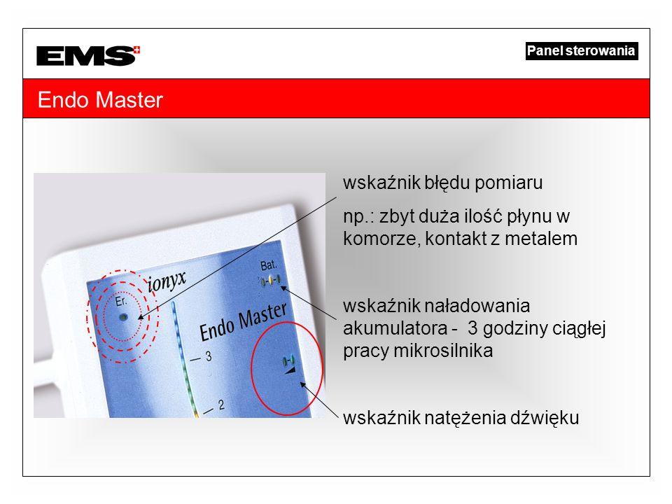 Endo Master wskaźnik błędu pomiaru np.: zbyt duża ilość płynu w komorze, kontakt z metalem wskaźnik naładowania akumulatora - 3 godziny ciągłej pracy