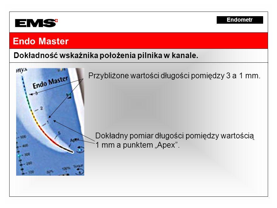 Endo Master Dokładność wskaźnika położenia pilnika w kanale. Przybliżone wartości długości pomiędzy 3 a 1 mm. Dokładny pomiar długości pomiędzy wartoś