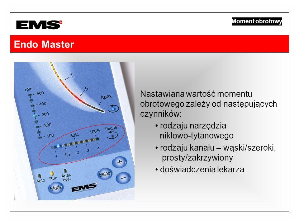 Endo Master Moment obrotowy Nastawiana wartość momentu obrotowego zależy od następujących czynników: rodzaju narzędzia niklowo-tytanowego rodzaju kana