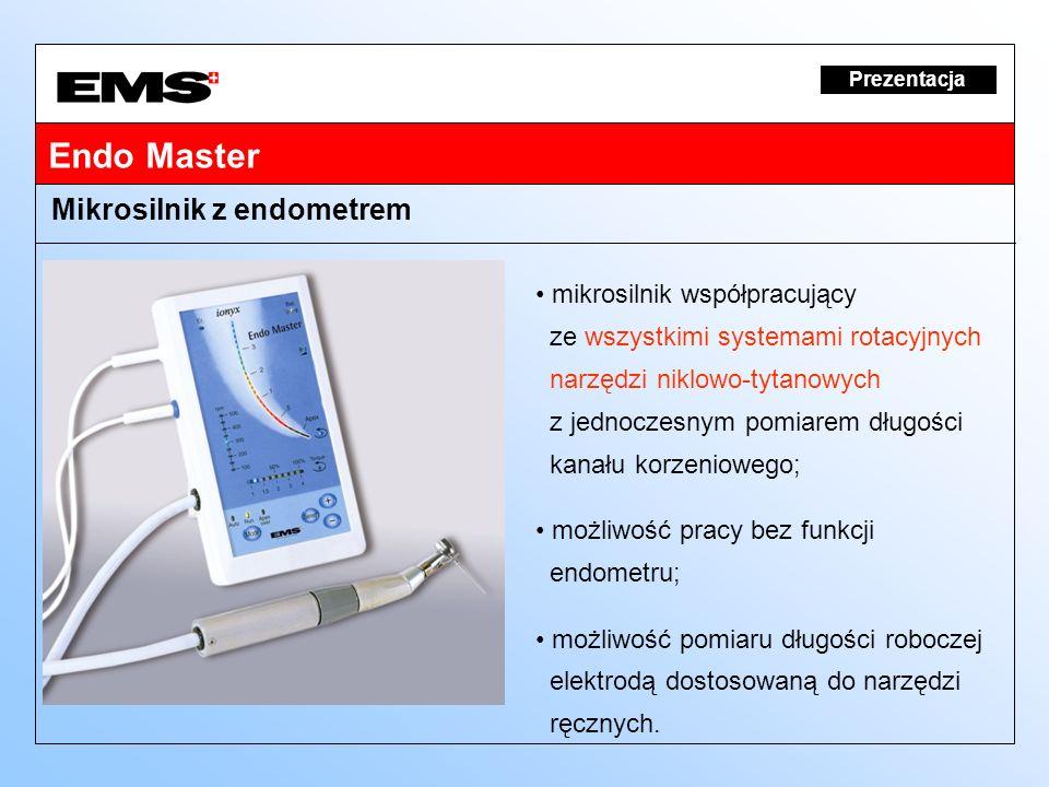 Endo Master Prezentacja mikrosilnik współpracujący ze wszystkimi systemami rotacyjnych narzędzi niklowo-tytanowych z jednoczesnym pomiarem długości ka