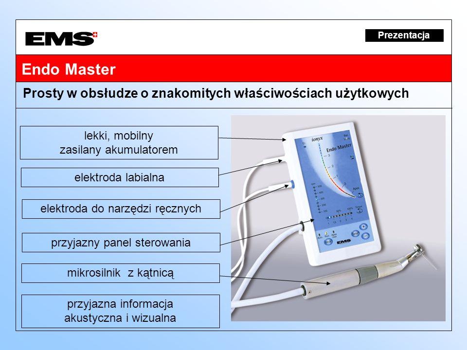 Endo Master Prezentacja lekki, mobilny zasilany akumulatorem Prosty w obsłudze o znakomitych właściwościach użytkowych elektroda labialna elektroda do
