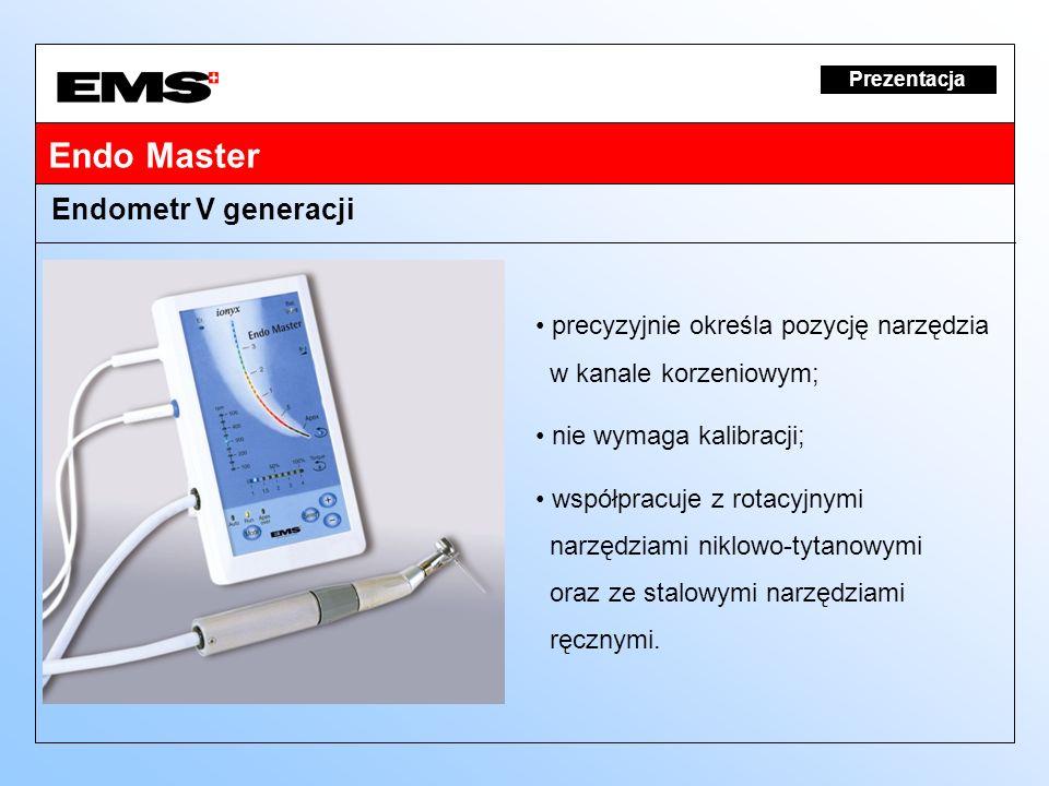 Prezentacja Endometr V generacji precyzyjnie określa pozycję narzędzia w kanale korzeniowym; nie wymaga kalibracji; współpracuje z rotacyjnymi narzędz
