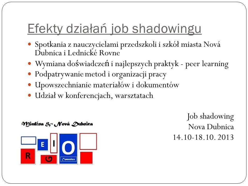 Efekty działań job shadowingu Spotkania z nauczycielami przedszkoli i szkół miasta Nová Dubnica i Lednické Rovne Wymiana do ś wiadcze ń i najlepszych