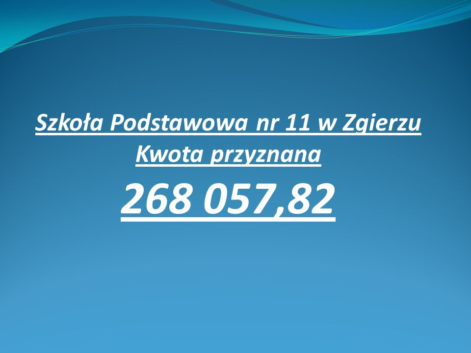 Szkoła Podstawowa nr 11 w Zgierzu Kwota przyznana 268 057,82