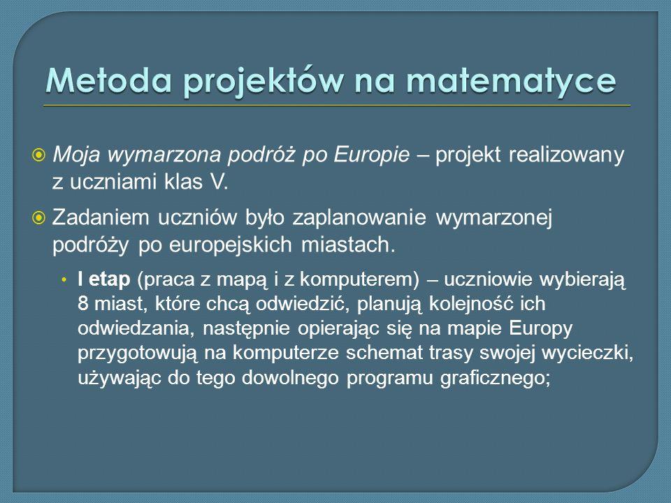 Moja wymarzona podróż po Europie – projekt realizowany z uczniami klas V. Zadaniem uczniów było zaplanowanie wymarzonej podróży po europejskich miasta