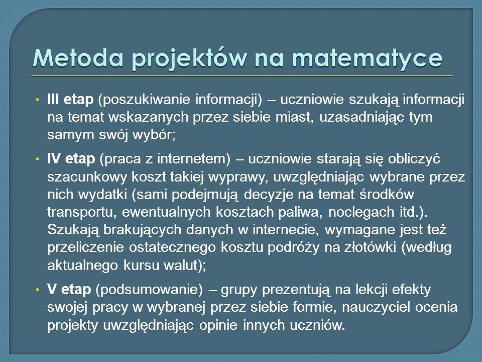 III etap (poszukiwanie informacji) – uczniowie szukają informacji na temat wskazanych przez siebie miast, uzasadniając tym samym swój wybór; IV etap (