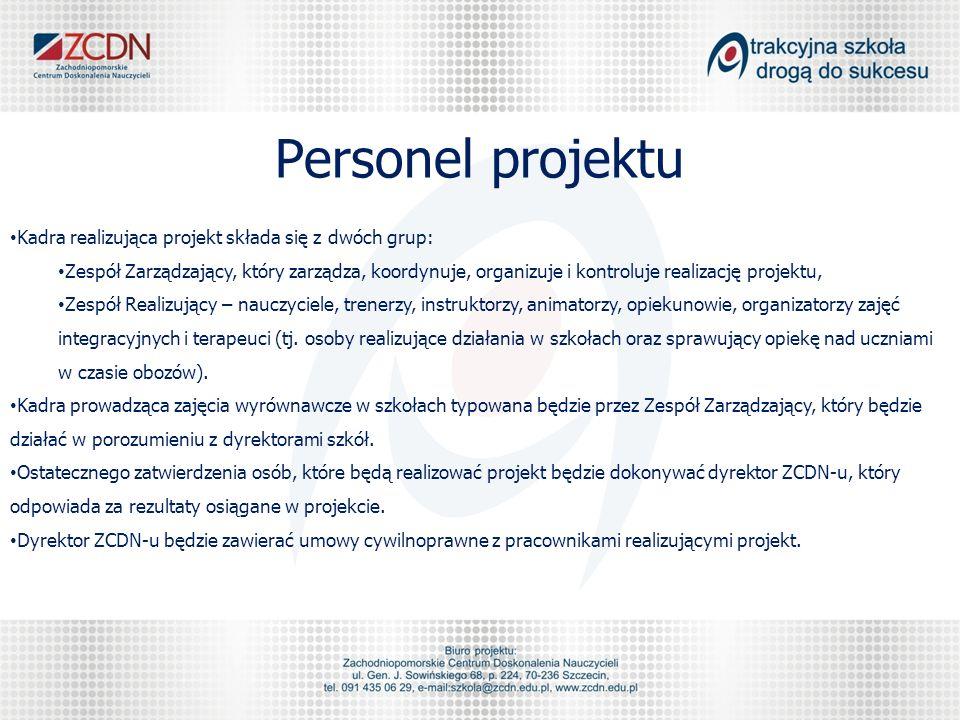 Personel projektu Kadra realizująca projekt składa się z dwóch grup: Zespół Zarządzający, który zarządza, koordynuje, organizuje i kontroluje realizac
