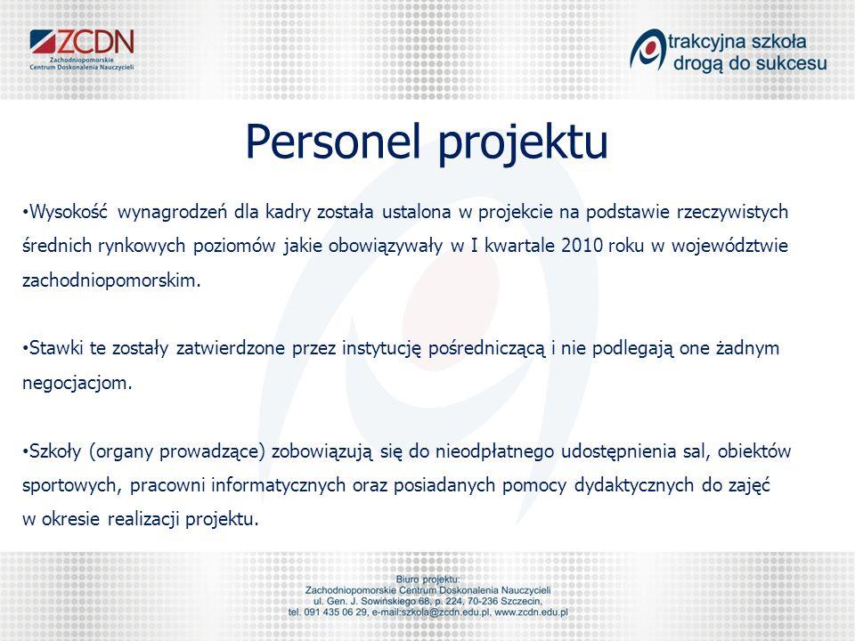 Personel projektu Wysokość wynagrodzeń dla kadry została ustalona w projekcie na podstawie rzeczywistych średnich rynkowych poziomów jakie obowiązywały w I kwartale 2010 roku w województwie zachodniopomorskim.